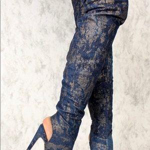Blue Gold Shimmer Peep Toe Thigh High Heel Boots